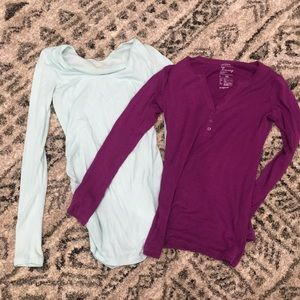 2 long sleeve maternity tops